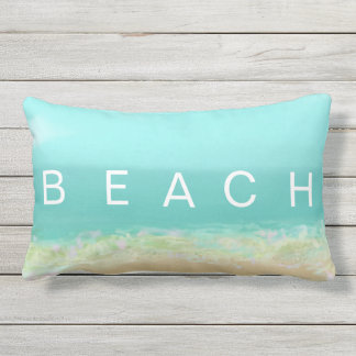 Beach HAPPY cool blue and yellow  summer stripes Lumbar Pillow