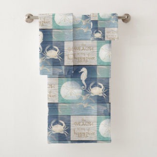 Beach Happy Place Blue Aqua Sea Towel Set