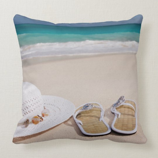 Beach Hat and Flip Flops Pillow