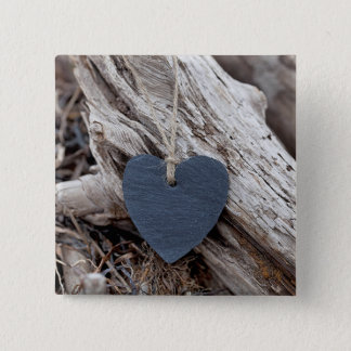 Beach Heart 2 Inch Square Button