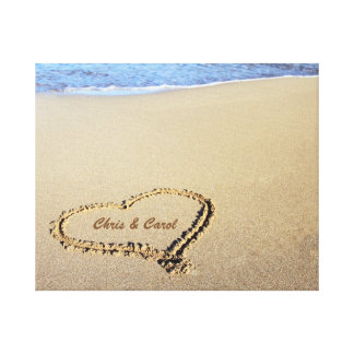 Beach Heart Canvas Print w/ Custom Names