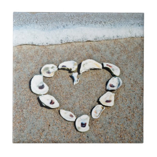 Beach Heart in Seashells Romantic Design Tile