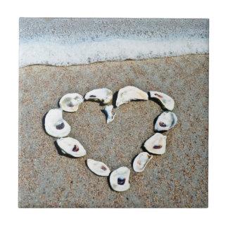 Beach Heart in Seashells Romantic Design Tiles