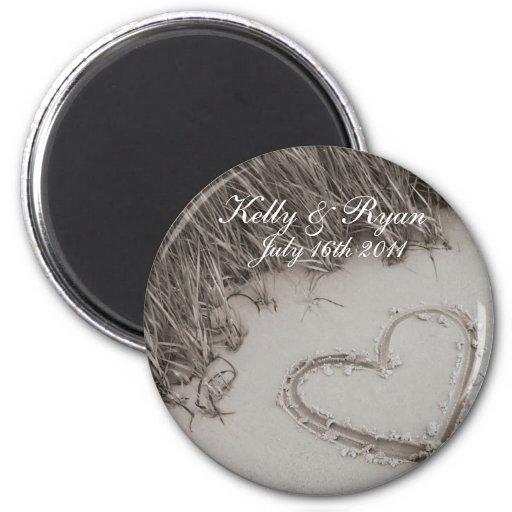Beach Heart Wedding Magnet