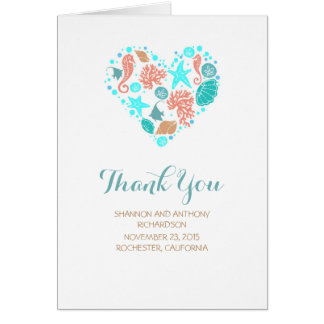 Beach Heart White Elegant Wedding Thank You Card