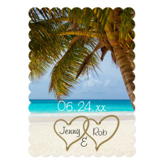 "beach hearts wedding bridal bride groom guests 5"" x 7"" invitation card"