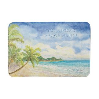 Beach Home Decor Tropical Island Palms Watercolor Bathroom Mat