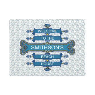Beach House Blue Sign Scallop Swirls | Family Name Doormat