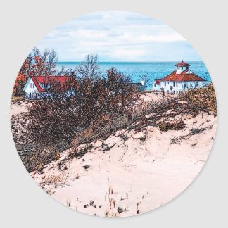 Beach house classic round sticker