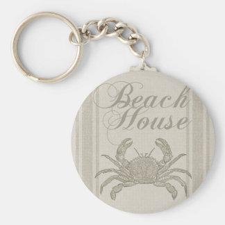 Beach House Crab Sandy Coastal Decor Keychain