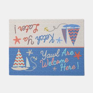 Beach House   Funny Sailboat Pun   Nautical Humor Doormat