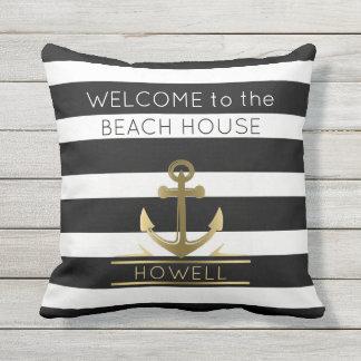 Beach House Nautical Anchor Family Name B&W Stripe Outdoor Pillow