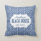 Beach House Nautical Navy Key Deco Personalized Throw Pillow
