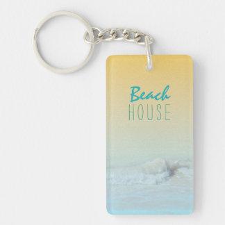 Beach House Ocean Wave Rental Key Ring Single-Sided Rectangular Acrylic Keychain