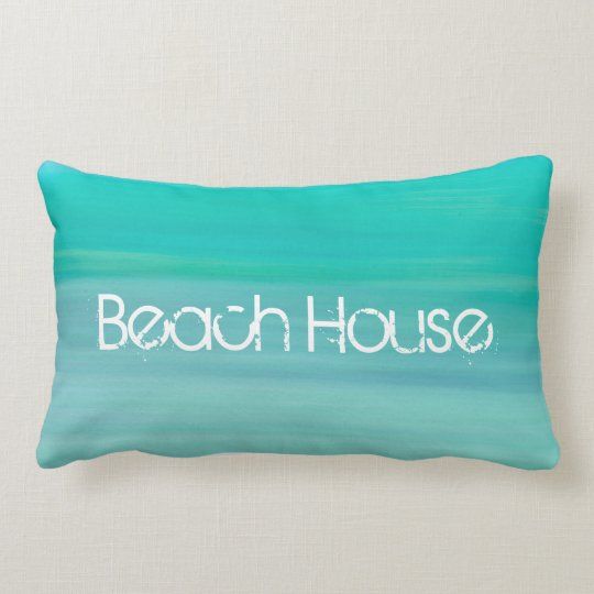 Beach House on aquamarine gree ocean Lumbar Pillow