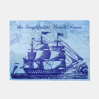 Beach House Personalized Nautical Sailing Ship Doormat