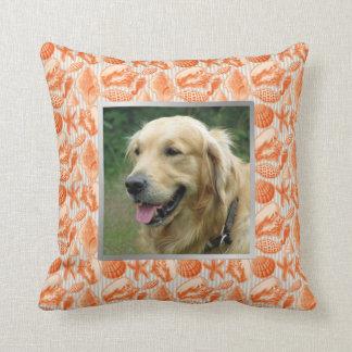 Beach House Pet Photo Orange Seashells Accent Throw Pillow