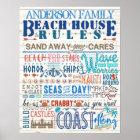 Beach House Rules Family Cottage | Custom Coastal Poster