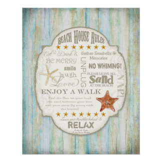 Beach House Rules Seashore Cottage Home Decor Art