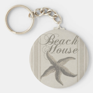 Beach House Starfish Sandy Coastal Decor Keychain