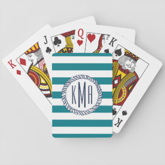 Beach House Teal Stripe & Nautical Navy Monogram Playing Cards