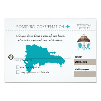Beach Hut and Chairs RSVP Dominican Republic Teal Card