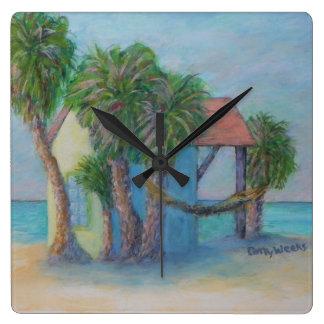 BEACH HUT Clock