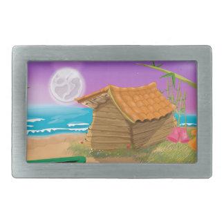 Beach Hut on moonlit beach Rectangular Belt Buckles