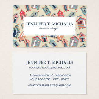 Beach Hut Pattern Business Card