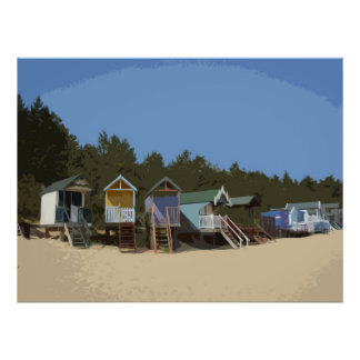 BEACH HUTS 1 POSTER