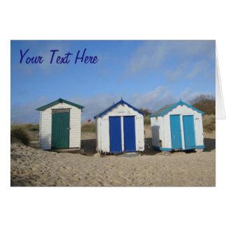 Beach huts blue skies english seaside photographic card