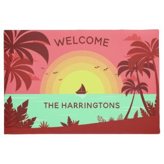 Beach Illustration custom name door mats