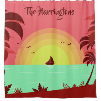 Beach Illustration custom name shower curtain