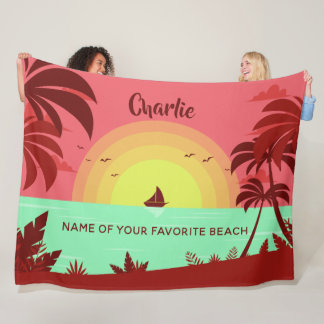 Beach Illustration custom name & text blankets