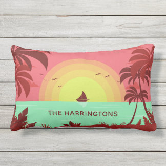 Beach Illustration custom name throw pillows