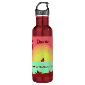 Beach Illustration custom name water bottles