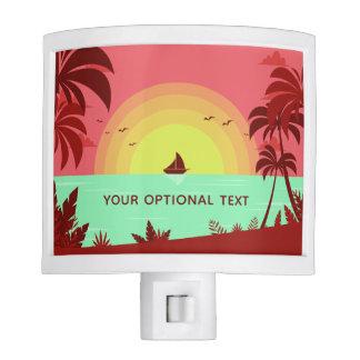 Beach Illustration custom text night light
