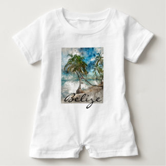 Beach in Ambergris Caye Belize Baby Romper
