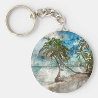 Beach in Ambergris Caye Belize Basic Round Button Keychain