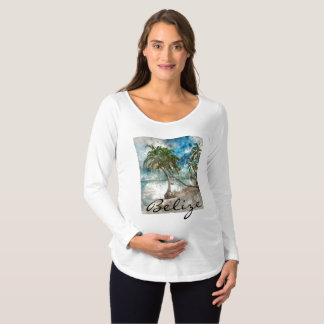 Beach in Ambergris Caye Belize Maternity T-Shirt