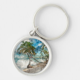 Beach in Ambergris Caye Belize Silver-Colored Round Keychain