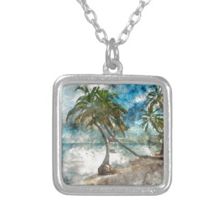 Beach in Ambergris Caye Belize Silver Plated Necklace