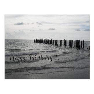 Beach in Florida pelicans birthday map Postcard