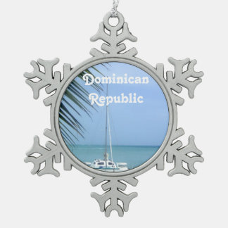 Beach in the Dominican Pewter Snowflake Ornament