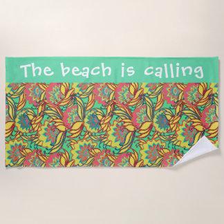 Beach is Calling Key West Floral Pattern Beach Towel