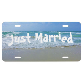 Beach Just Married Wedding License Plate