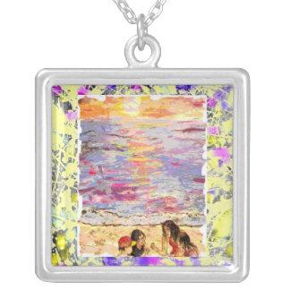 beach kids drip square pendant necklace
