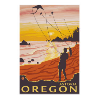 Beach & Kites - Astoria, Oregon Poster
