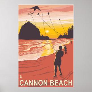 Beach & Kites - Cannon Beach, Oregon Poster