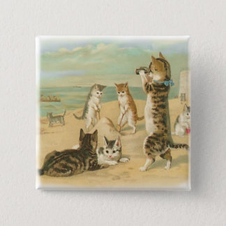Beach Kittens 2 Inch Square Button